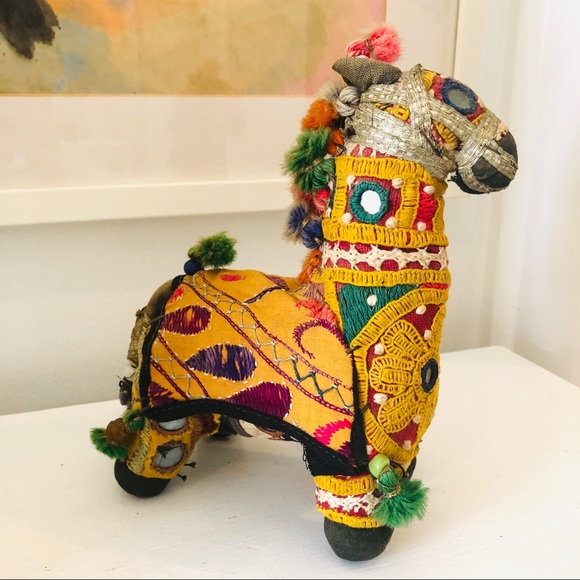 Vintage Indian Rajasthani cloth embroidered horse